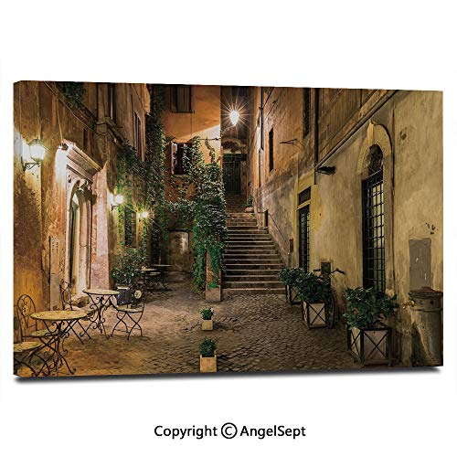Modern Salon Theme Mural Old Courtyard in Rome Italy Cafe Chairs City Ambience Houses Street Decorative Painting Canvas Wall Art for Home Decor 24x36inches, Orange Brown Green