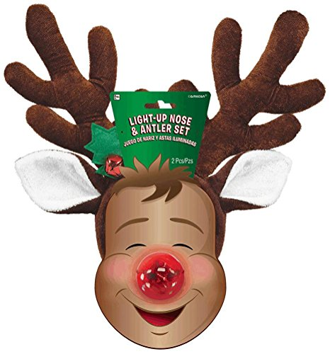 Vixen Reindeer Costumes (Amscan Adult Fun-Filled Christmas & Holiday Party Reindeer Nose & Antler Kit (2 Piece), Red/Brown, One Size)
