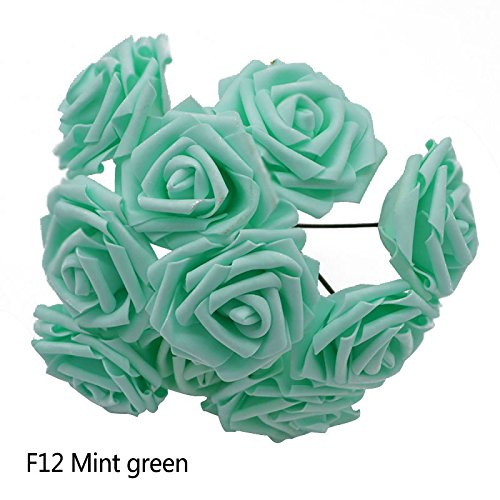 - XGM GOU 25 Heads 8CM PE Foam Artificial Rose Flowers Wedding Bride Bouquet Home Decor Rose Flowers DIY Party Supplies Handmade Craft Mint Green