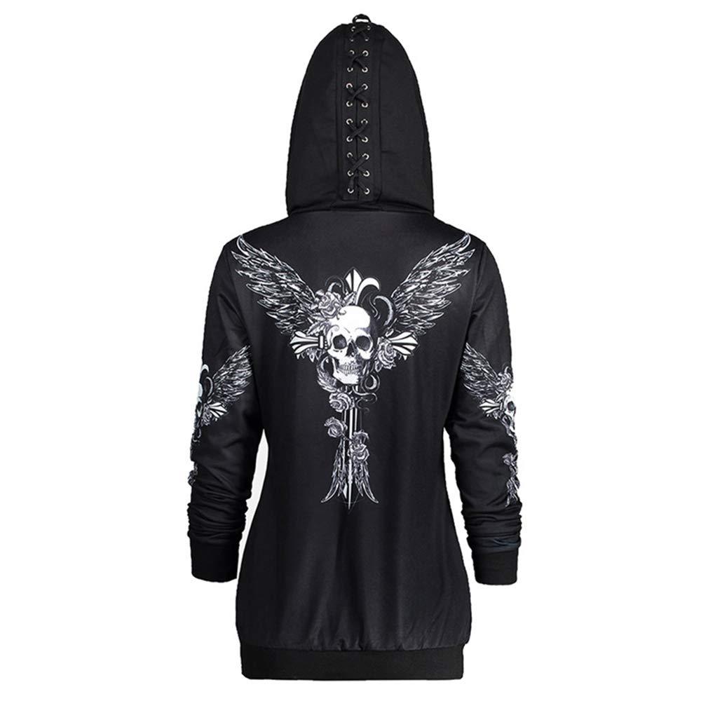 JiXuan Sudaderas con Capucha para Mujer Ropa Gothic Punk Skull Letters Impreso Sudaderas Oto/ño Invierno Chaqueta de Manga Larga Cremallera Abrigo