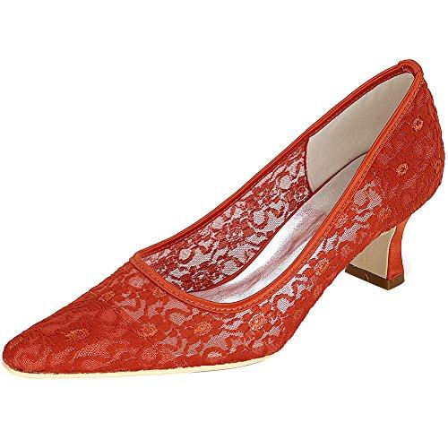Loslandifen Womens Mid Heels Elegante Punta A Punta Pompe Da Sposa In Pizzo Scarpe Da Sposa Arancione