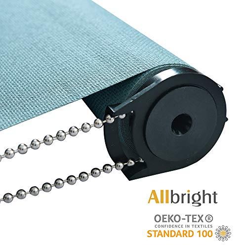 Allbright Bahamas 100% Blackout Manual Roller Shades, Oeko-Tex Standard 100 (Teal, 23 x 83) (Teal Blinds Window)