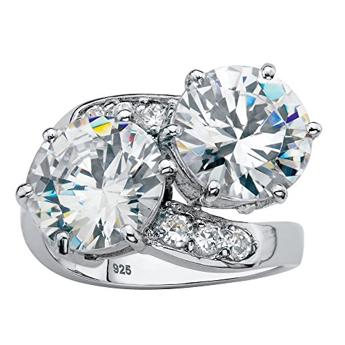 Platinum over Sterling Silver Round Cubic Zirconia 2-Stone Bypass Ring Size 6 (Two Stone Bypass Ring)
