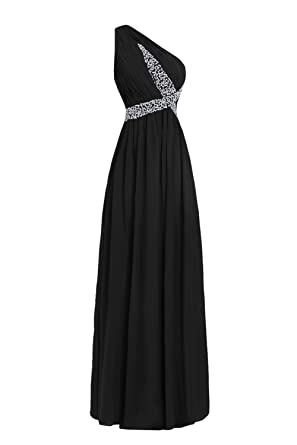 bf2ffe65cf8 Dasior Women's Sequined One Shoulder Pleated Chiffon Bridesmaid Dress Long  US2 Black