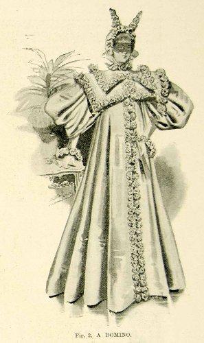 1895 Print Antique Victorian Masquerade Ball Costume Domino Costume Mask Cloak - Original Halftone