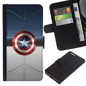 """A-type (América Super Héroe Sheild"""") Colorida Impresión Funda Cuero Monedero Caja Bolsa Cubierta Caja Piel Card Slots Para Apple (5.5 inches!!!) iPhone 6+ Plus / 6S+ Plus"""