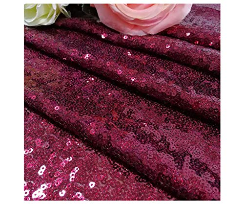 ShinyBeauty Sequin Table Runner Burgundy 12x108-Inch Runner Wine Table Covers for Party Bridal Shower Decorations ~1025S