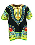 KlubKool Dashiki Shirt Tribal African Caftan Boho Unisex Top Shirt (Black/Yellow/Green,X-Large)