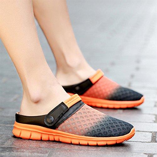 Anti Schuhe Walking und Herren Unisex Damen Rutsch Garten Sandalen Orange Breathable Mesh Komfortable Super Sommer Licht Clogs Malloom® Pag7Xq1x