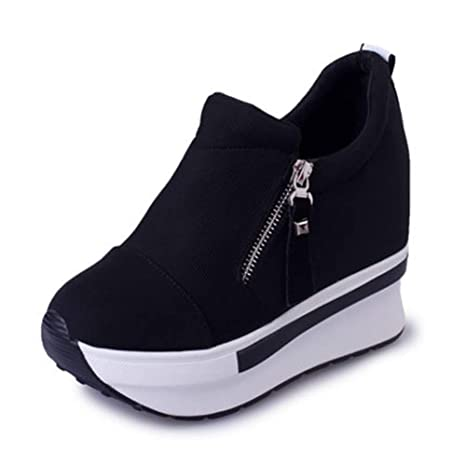 43620da10e7a Amazon.com  DETAIWIN Womens Canvas Platform Sneakers Casual Zip Height  Increasing Breathable Wedge Slip On Thick Heel Running Shoes  Sports    Outdoors