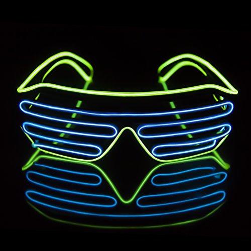 Light Up EL Wire Neon Shutter Glasses Flashing LED Rave Sunglasses for 80s, EDM, Parties Decorations(Lemon Green+Blue)