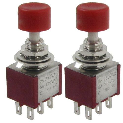 250/2 Pc (2 Pcs AC 250V 2A 120V 5A DPDT 2NO 2NC Momentary Push Button Switch)