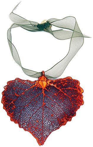 Curious Designs Ornament - Iridescent Cottonwood, Real Leaf, Heart Shape