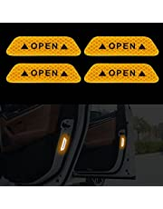 TOMALL 4pcs Door Open Reflective Strip Stickers Car Open Safety Warning Anti-Collision Strip High-Intensity Night Visibility Reflective Decal for Car SUV Trunk Universal Waterproof (White)