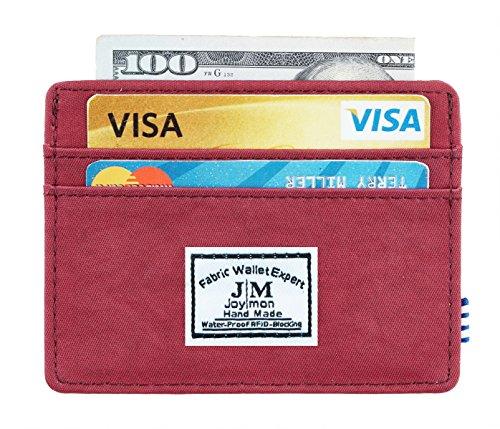 Fabric Credit Card Holder (Joymon Minimalist Slim Front Pocket Wallet Fabric RFID Blocking Credit Card Holder (wine red))