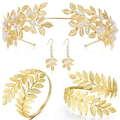 Coucoland Grecian Goddess Costume Accessories Womens Leaf Headband Coil Bracelet (Set-1)]()