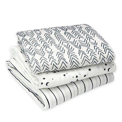 - Oliver & Rain - Organic Cotton Muslin Black & White Stripe, Star Print, Arrow Print Swaddle Sampler, NB, 3-pack