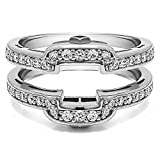 TwoBirch 0.49 ct. Cubic Zirconia Square Halo Style Wedding Ring Guard in Sterling Silver (1/2 ct. twt.)