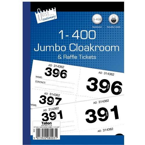 Just Stationery 1-400 Jumbo Cloakroom Raffle Ticket]()
