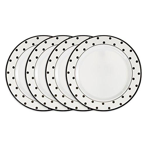 Melamine 10.5 Plate (Q Squared Moonbeam Black Dots BPA-Free and Shatterproof Melamine Dinner Plate, 10-1/2-Inches, Set of 4, Black, White)