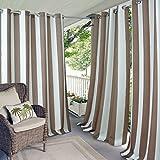 gazebo curtains amazon Elrene Home Fashions Indoor/Outdoor Patio Gazebo Pergola Cabana Stripe Grommet Top Single Panel Window Curtain Drape, 50 Inch Wide X 95 Inch Long, Natural (1 Panel)