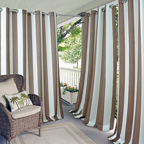 Elrene Home Fashions Indoor/Outdoor Patio Gazebo Pergola Cabana Stripe Grommet Top Single Panel Window Curtain Drape, 50 Inch Wide X 95 Inch Long, Natural (1 Panel)