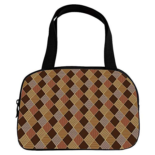 Polychromatic Optional Small Handbag Pink,Brown,Lozenge Pattern in Patchwork Style Classical Old Fashioned Floral Decorative,Brown Light Brown Cinnamon,for Girls,Print Design.6.3