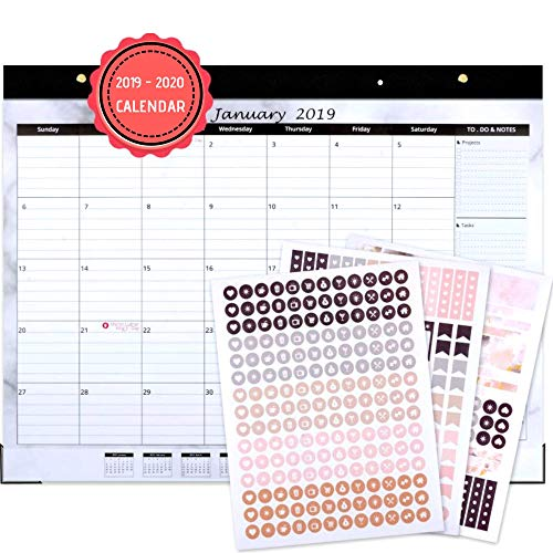 Large Desk Calendar 2019-2020: 17.75'' x 11.75'', Wall Or Desktop, with Stickers for Calendars, Monthly Calendar, USE Now