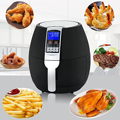 ZENY 1500W Electric Air Fryer Oil Free Cooking Large Capacity 3.7QT w/LCD Digital Screen, 8 Cook Presets, Dishwasher Safe Parts (Black)