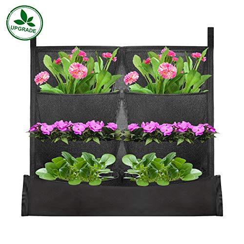 (KORAM 8-Pocket Garden Hanging Planter Bag Waterproof Vertical Indoor/Outdoor Living Wall Balcony Plant Grow Pouch 8 Pieces of Free Root Wrappers Included)