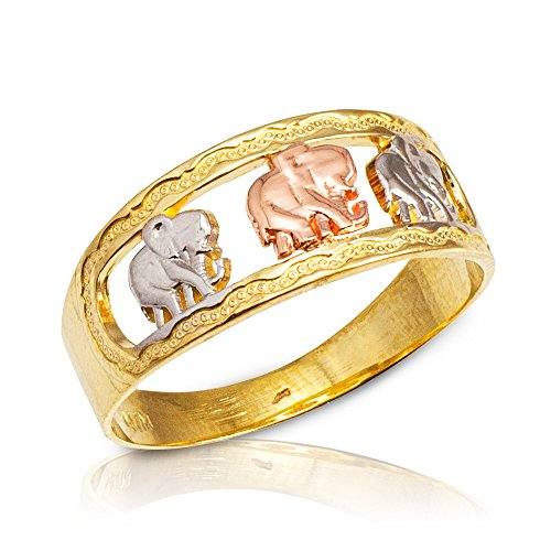 Polished 10k Tri-tone Gold Textured Openwork Band Three Elephant Ring (Size 8)