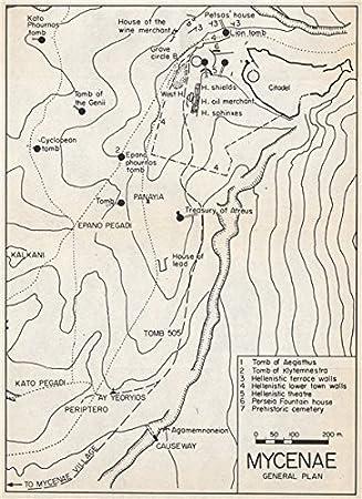 Peloponnes Karte.Mykene Vintage Ground Plan Peloponnes Griechenland 1967 Old