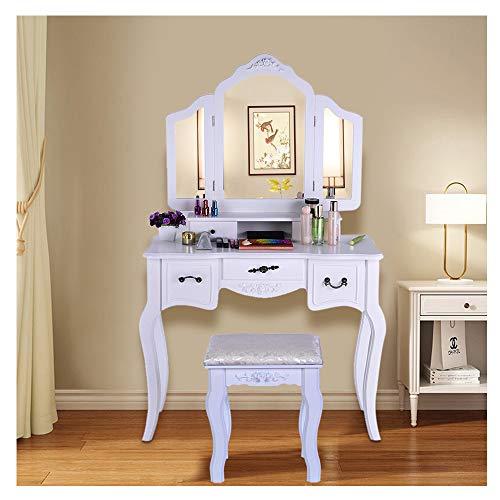(Wotryit Bathroom Vanity Set Tri-Folding Mirror W/Bench 5 Drawer Dressing Table Make-up Vanity Table Set (White) )
