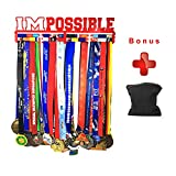Medal Hanger Holder Display Rack for 30 Medals Application for All Sports Stainless Steel Medal Hanger Holder, Race Medal Display Holder,Hanger for Medals,Bonus1PC Zippered Wristband Pocket Included