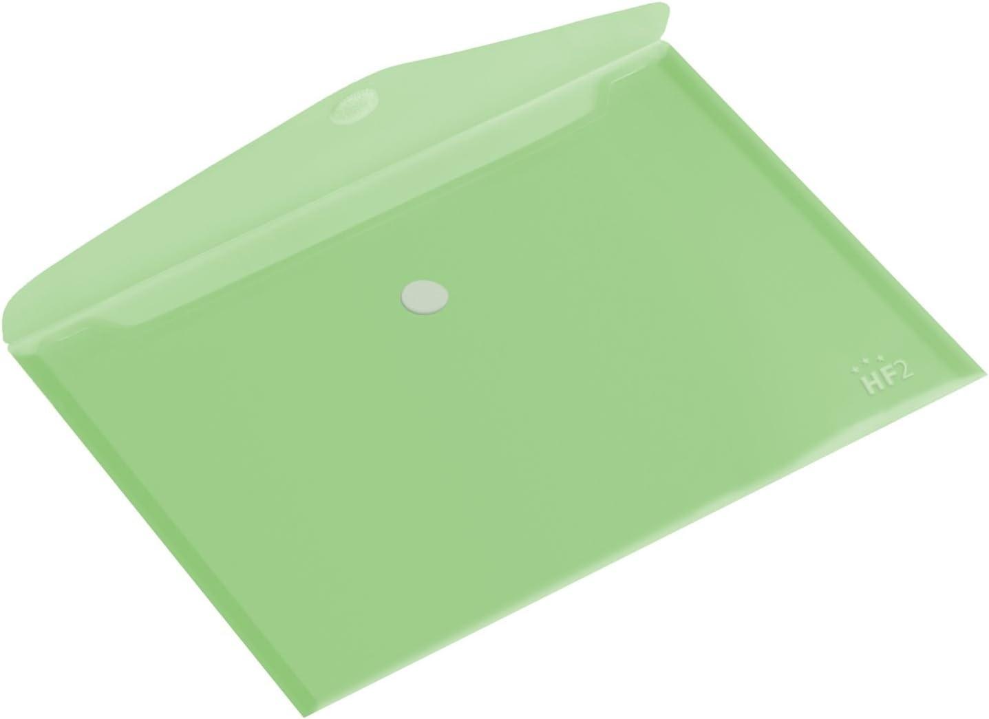 HF2 190436-Carpetas sobres A5 (Pack de 10) en PP translúcido para documentos, con cierre de velcro, diseño horizontal - Verde