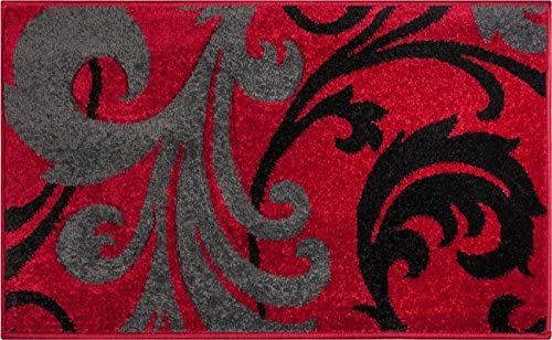 Doormat Ruby Kitchen Bathroom Soft Durable Accent Rug Small Carpet Scatter Entry Mat Easy to Clean Modern Woven Hearth Mat Red 1 8 x 2 7