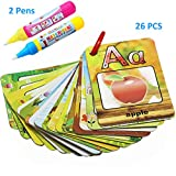 Kingseye Water Painting Graffiti Book Card 26 Letters Chidren�s Early Education Cognitive Cards A-Z Alphabet Word Colouring Doodle Board + 2 Magic Drawing Pens Games Toy for Toddlers Kids Baby