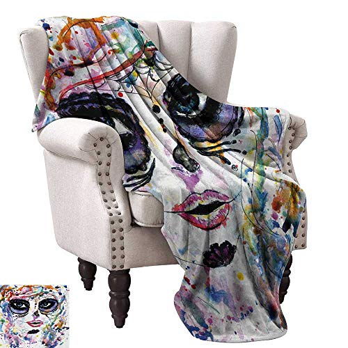 Anyangeight Throw Blanket,Halloween Girl with Sugar Skull Makeup Watercolor Painting Style Creepy Look 80