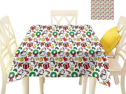 - W Machine Sky Dustproof Square Tablecloth Christmas Festive Celebration of Xmas Garland Candy Cane Snowman Mistletoe Tree Ornaments W60 xL60 Suitable for Buffet Table, Parties, Wedding