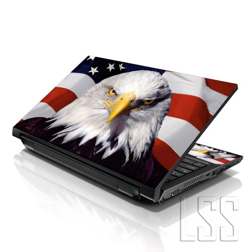 LSS 15 15.6 inch Laptop Notebook Skin Sticker Cover Art Decal Fits 13.3 14 15.6 16 HP Dell Lenovo Apple Asus Acer Compaq (Free 2 Wrist Pad Included) USA Eagle