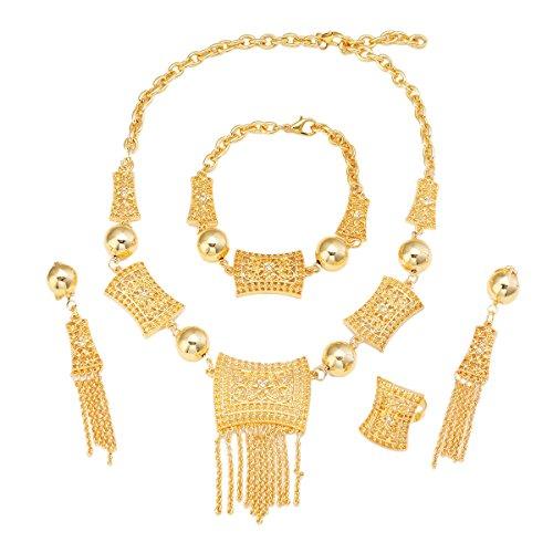 24k Gold Set - African Jewelry Set 24K Gold Ethiopian India Dubai Gold Bride Jewelry Set