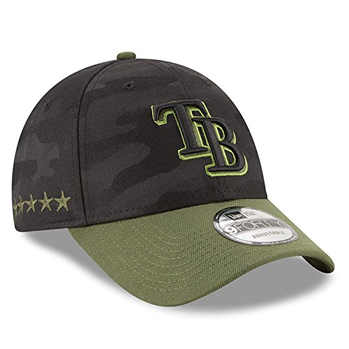 Rays Tampa Green Bay (New Era Authentic Tampa Bay Rays Memorial Day 9Forty Adjustable Hat - Black/Rifle Green)