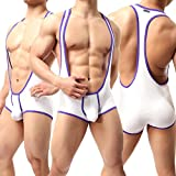 Yeke Men's Sexy Body Leotard Freestyle Wrestling Singlet Backless Modal Bodysuit (White, XL)