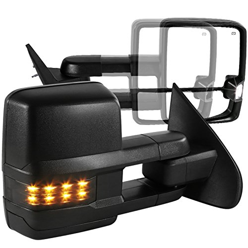 (Chevy Silverado GMC Sierra Power Heat Extend Towing Mirrors w/Smoke LED Signal)