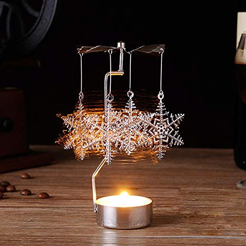 Gotian Christmas Spinning Candle Holder, Rotary Tealight Candle Metal Tea Light Holder Carousel Home Decor Gift (B) from Gotian
