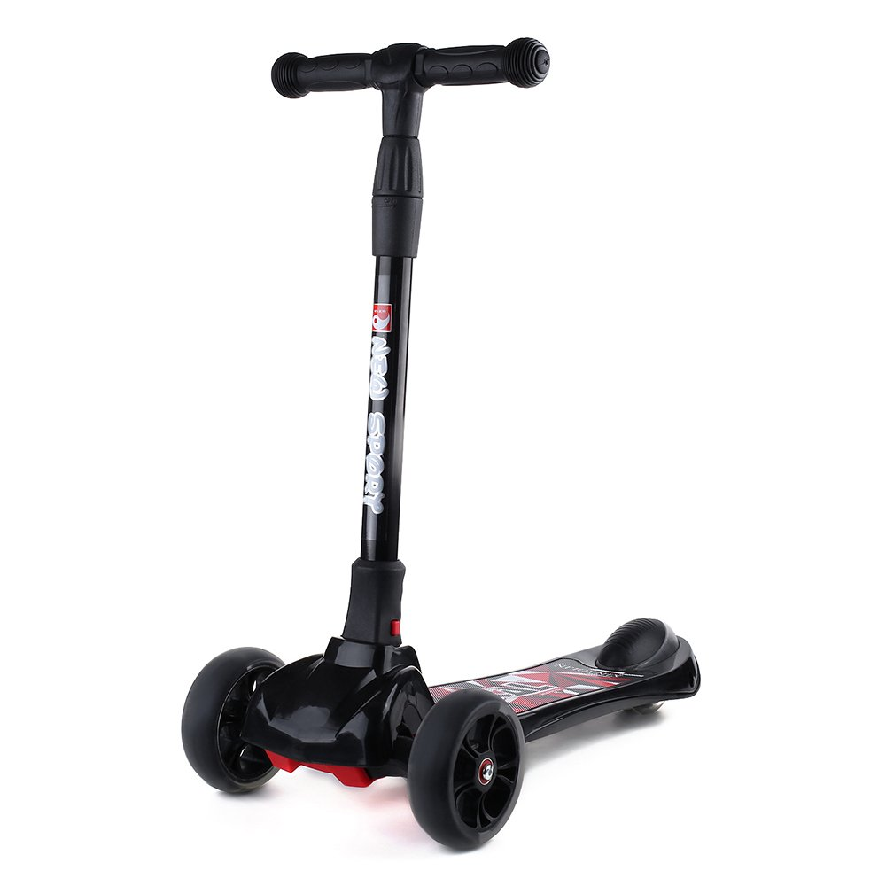 New Olym Kid's Kick Scooter (Mini) Four-Wheeled Skateboard with Adjustable Handlebars   Kid Friendly Indoor or Outdoor Riding Toy   Foldable for Travel & Storage   Ages 3-8 (Black)