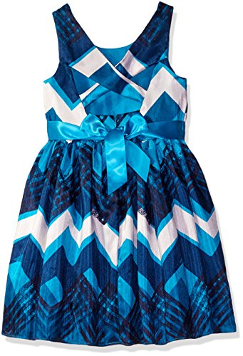 Bloome Big Girls' Chevron Woven Special Occasion Dress, Blue/Multi, 8