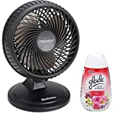 Holmes Blizzard Oscillating 2 Powerful Speed Portable Table Top Personal Desk Fan, Black with Air Freshener