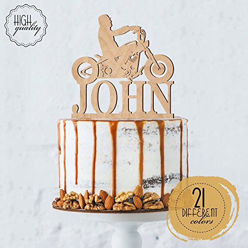 Biker Silhouette Chopper Motorcycle Personalized Cake Topper Birthday Cake Topper For Men Customized HD Biker   Wooden Cake Toppers