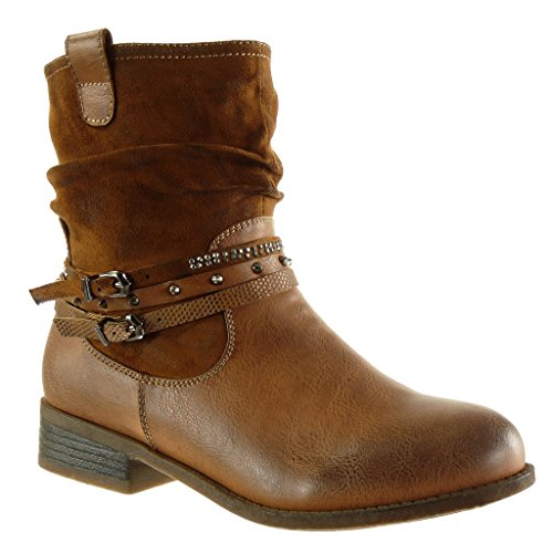 Angkorly - damen Schuhe Stiefeletten - Reitstiefel - Kavalier - Biker - bi-Material - Multi-Zaum - Schlangenhaut - Nieten - besetzt Blockabsatz 3 CM Camel